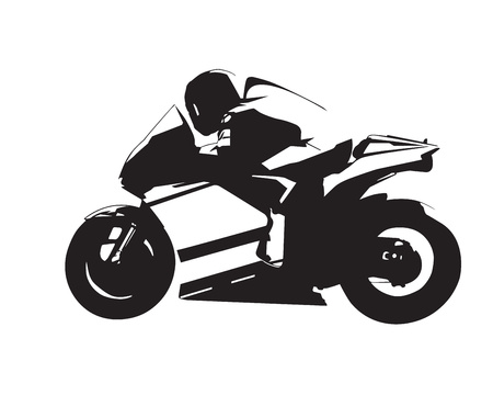 Illustration pour Motorcycle vector illustration, abstract isolated road motorbike silhouette, side view - image libre de droit