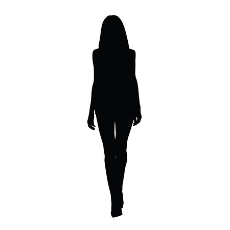 Illustration for Silhouette slim tall women. Front view. Vector silhouette of sexy girl. Catwalk silhouette. Long legs, shoes on high heels - Royalty Free Image