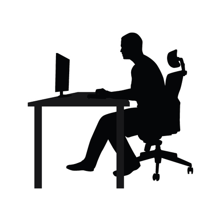 Illustration pour Man sitting on office chair at table and working on computer. Side view. Vector silhouette. Man working in office at desk and staring into monitor - image libre de droit