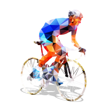 Illustration pour Cycling. Abstract geometrical road cyclist on his bike. Abstract polygonal cyclist - image libre de droit