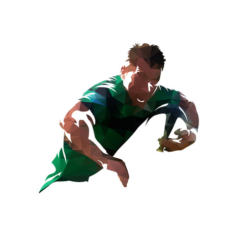 Illustration pour Rugby player holding ball, colorful polygonal vector illustration. Low poly - image libre de droit