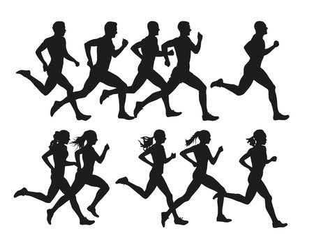 Photo for Running people, vector isolated silhouettes. Run, men and women - Royalty Free Image