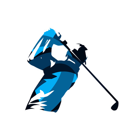 Illustration pour Golf player, abstract blue isolated vector silhouette. Golf swing logo - image libre de droit