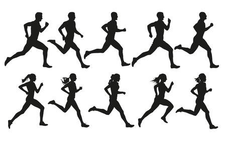 Photo for Run. Running men and women, vector set of isolated silhouettes - Royalty Free Image