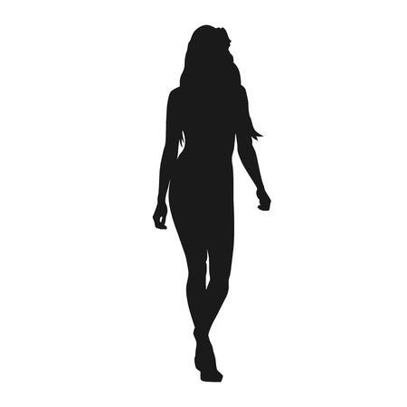 Illustration pour Sexy woman walking forward, isolated vector silhouette. Fashion model, catwalk - image libre de droit