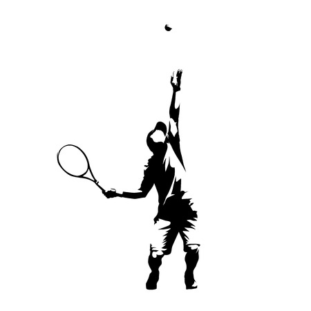 Illustration pour Tennis player serving ball, service, abstract isolated vector silhouette - image libre de droit