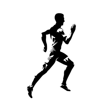 Photo for Running man, isolated vector silhouette. Sprinting runner - Royalty Free Image