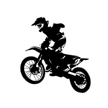 Illustration pour Motocross race, rider on motorbike, isolated vector silhouette - image libre de droit