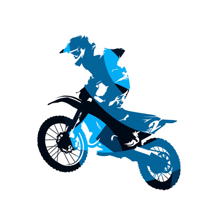 Illustration for Motocross race, rider on motorbike, abstract blue isolated vector silhouette - Royalty Free Image