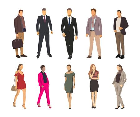 Illustration for Business men and women, group of business people. Set of geometric flat design vector illustrations - Royalty Free Image