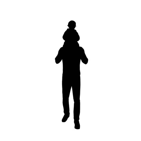 Illustration pour Dad carries a baby on his back, father and kid, isolated vector silhouette - image libre de droit