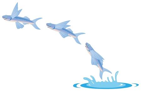 cartoon illustration of a flying fish