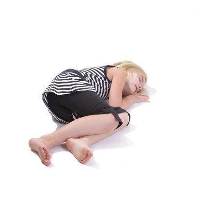 Little girl sleeping - isolated over white