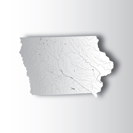 U.S. states - map of Iowa with paper cut effect. Hand made ...
