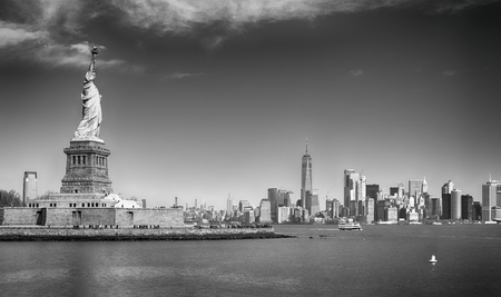 Photo for View of Liberty Island with Statue of Liberty and Manhattan. - Royalty Free Image