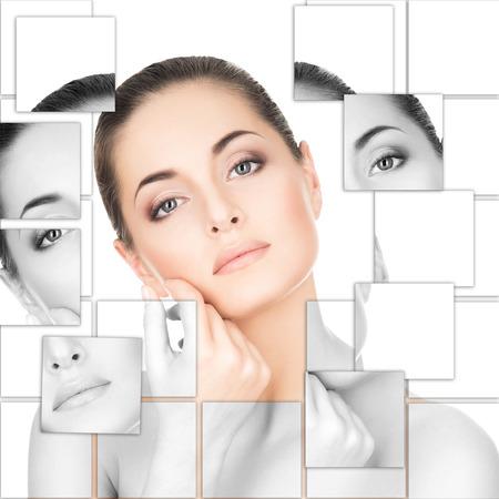 Photo pour Portrait of young, healthy and beautiful woman (plastic surgery, medicine, spa, cosmetics and visage concept) - image libre de droit