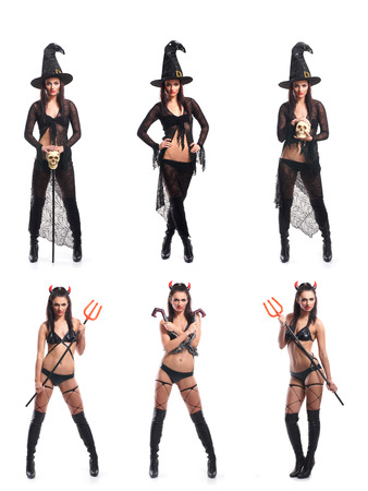 Set of different Halloween images isolated on white
