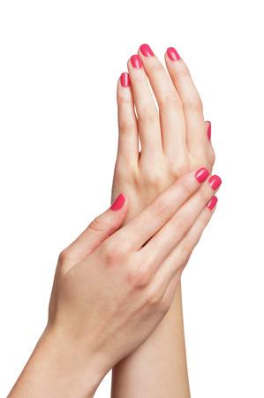 Photo pour Beautiful female hands isolated on white - image libre de droit