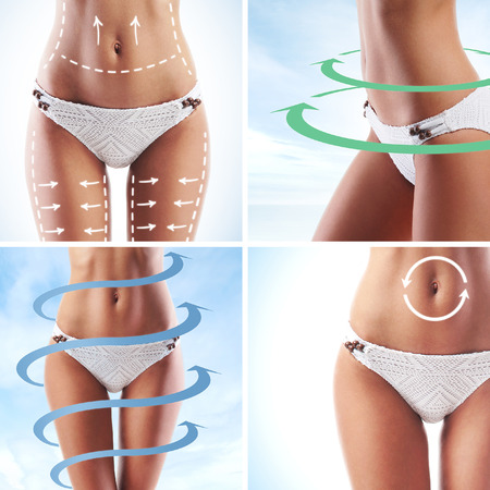 Photo for Female body with the drawing arrows. Fat lose, liposuction and cellulite removal concept. - Royalty Free Image