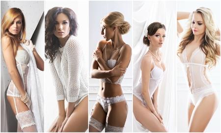 Foto de White underwear collection. Sexy brides in erotic lingerie. Underwear collage. - Imagen libre de derechos
