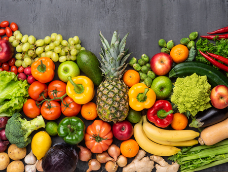 Photo for Healthy eating ingredients: fresh vegetables, fruits and superfood. Nutrition, diet, vegan food concept - Royalty Free Image