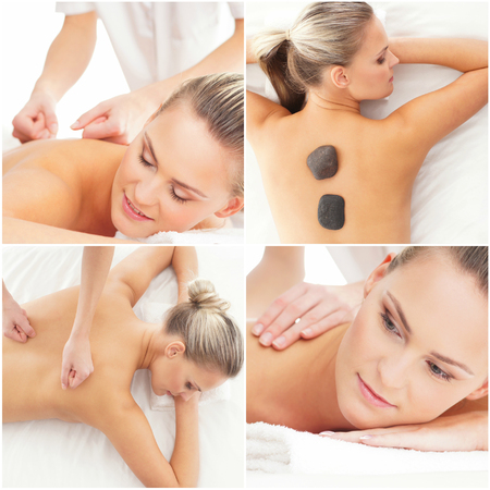 Photo pour Massaging and healing set. Health, medicine and recreation collage. Healing and massaging concept. - image libre de droit