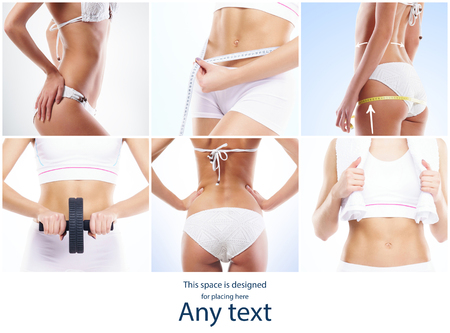 Photo for Health, sport, fitness, nutrition, weight loss, diet, cellulite removal, liposuction, healthy life-style collage. Beautiful female body shape. - Royalty Free Image