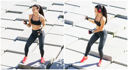 Foto de Young, fit and sporty girl training outdoor. Fitness, sport, urban jogging and healthy lifestyle concept. - Imagen libre de derechos