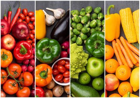 Photo pour Healthy eating ingredients: fresh vegetables, fruits and superfood. Nutrition, diet, vegan food concept. - image libre de droit