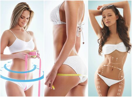 Photo pour Fit, young and beautiful female body. Fat lose, health, sport, fitness, nutrition, liposuction, healthy life-style concept. Woman in a fitness workout - image libre de droit