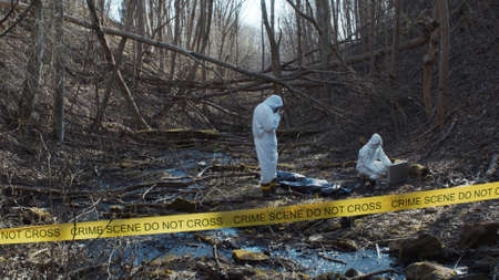 Photo for Detectives are collecting evidence in a crime scene. Forensic specialists are making expertise. Police investigation in a forest. - Royalty Free Image