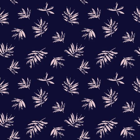 Illustration pour Pink and Navy Tropical Leaf botanical seamless pattern background suitable for fashion prints, graphics, backgrounds and crafts - image libre de droit