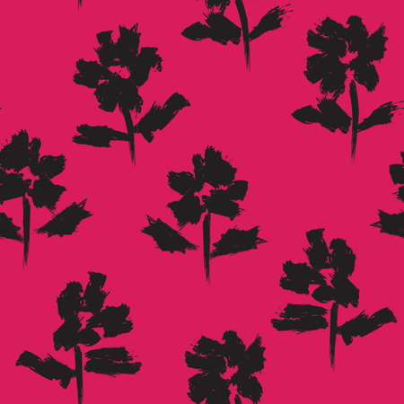 Illustration pour Red Floral brush strokes seamless pattern background for fashion prints, graphics, backgrounds and crafts - image libre de droit