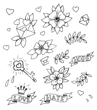 Vintage Set Of Hand Drawn Traditional Tattoo Design Elements Vector