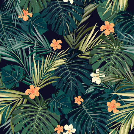 Foto de Summer colorful hawaiian seamless pattern with tropical plants and hibiscus flowers, vector illustration - Imagen libre de derechos