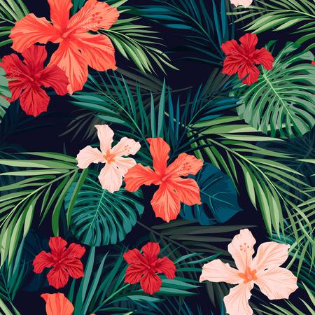 Foto de Summer colorful hawaiian seamless pattern with tropical plants and hibiscus flowers, vector illustration - Imagen libre de derechos
