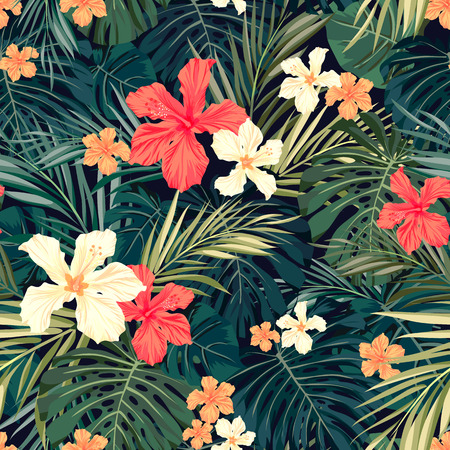 Ilustración de Summer colorful hawaiian seamless pattern with tropical plants and hibiscus flowers, vector illustration - Imagen libre de derechos