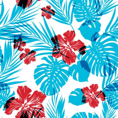 Illustration pour Bright seamless summer pattern with palm tree leaves and hibiscus flowers, cyan and magenta overlay effect - image libre de droit