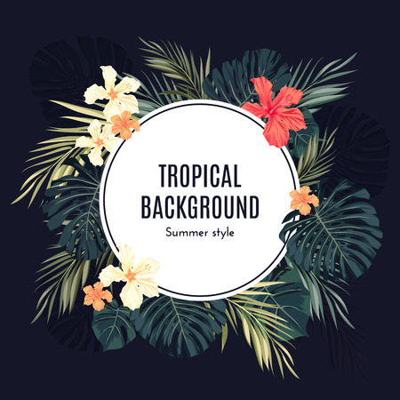 Summer tropical hawaiian background or flyer with jungle palm tree leaves and exotic flowers, space for text, vector illustration.