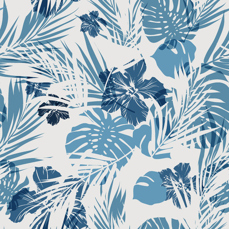 Illustration pour Summer camouflage hawaiian seamless pattern with tropical plants and hibiscus flowers, vector illustration - image libre de droit