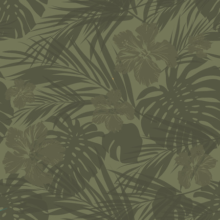 Foto de Summer camouflage hawaiian seamless pattern with tropical plants and hibiscus flowers, vector illustration - Imagen libre de derechos