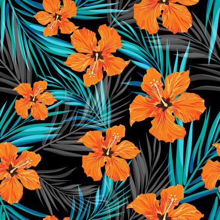 Illustration for Summer tropical hawaiian sale background with palm tree leaves and exotic flowers, space for text, vector illustration. - Royalty Free Image