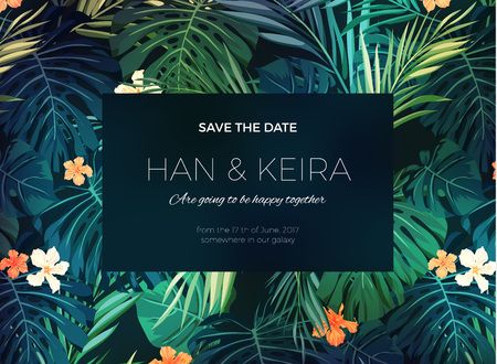 Wedding invitation and card design with exotic tropical flowers and leaves, vector illustration