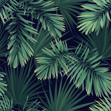 Illustration pour Dark tropical background with jungle plants. Seamless vector tropical pattern with green phoenix palm leaves. - image libre de droit
