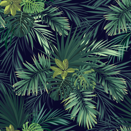 Illustration pour Seamless hand drawn botanical exotic vector pattern with green palm leaves on dark background. - image libre de droit
