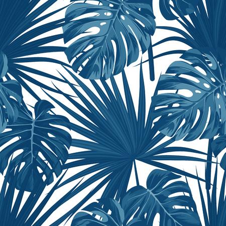 Illustration pour Blue denim floral pattern with exotic plants and palm leaves. Seamless vector fabric design. - image libre de droit