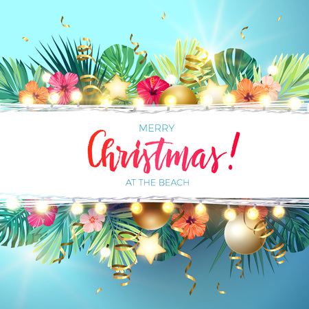 Illustration for Christmas on the summer beach design with monstera palm leaves, hibiscus flowers, xmas balls and gold glowing stars, vector illustration. - Royalty Free Image