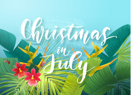 Ilustración de Christmas in July sale design with tropical royal palm leaves, exotic flowers and handlettering. Summer vector illustration. - Imagen libre de derechos