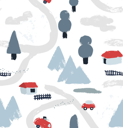 Illustration for Hand drawn textured winter pattern with little houses, roads, mountains and trees. Village map view. Vector illustration. - Royalty Free Image