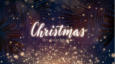 Illustration pour Christmas on the summer beach design with exotic palm leaves and gold glowing glitter, vector illustration. Festive sunset composition. - image libre de droit
